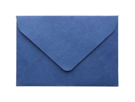 Blue paper envelope isolated on white. Mail service