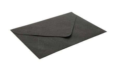 Black paper envelope isolated on white. Mail service
