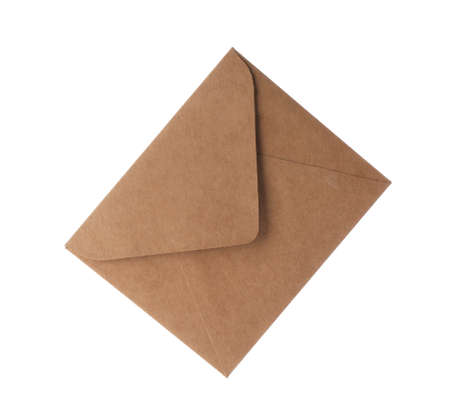 Brown paper envelope isolated on white. Mail service