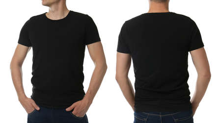 Man in black t-shirt on white background, closeup with back and front view. Mockup for design Фото со стока