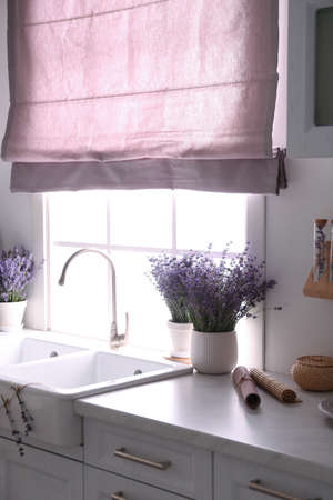 Beautiful lavender flowers on countertop near sink in kitchen