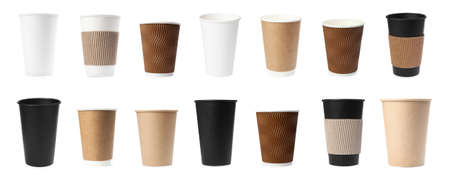 Set of paper coffee cups on white background. Banner design