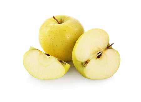 Fresh juicy yellow apples isolated on white Standard-Bild