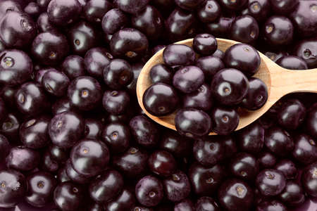Wooden spoon and fresh ripe acai berries as background, closeup