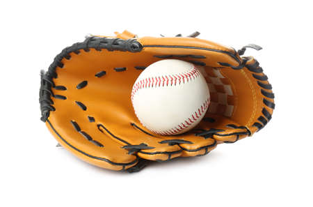 Leather baseball glove with ball isolated on white
