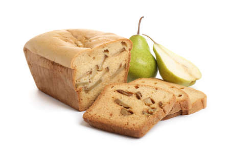 Tasty bread and pears isolated on white. Homemade cake