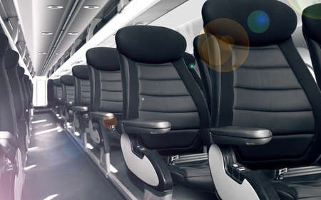 Modern cabin with comfortable seats in airplane