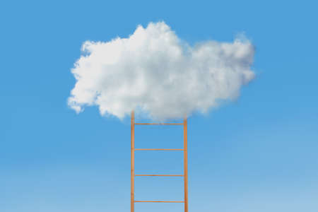 Wooden ladder with cloud on blue background. Conceptual design