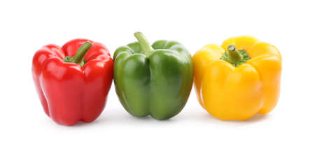 Fresh ripe colorful bell peppers isolated on white Stock Photo