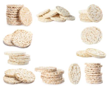 Frame of puffed corn cakes on white background Reklamní fotografie