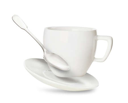 Clean cup with saucer and teaspoon in flight on white background 免版税图像