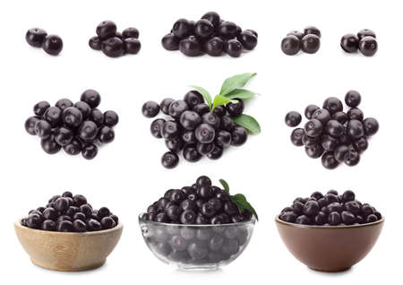 Set of fresh acai berries on white background