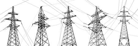Collage with high voltage towers isolated on white. Electric power transmission Stock Photo