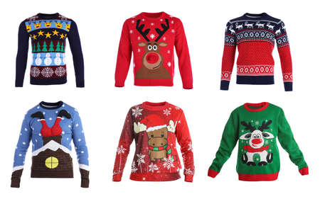Set of warm Christmas sweaters on white background