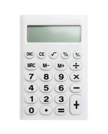 Modern calculator isolated on white, top view. School stationery Stock Photo