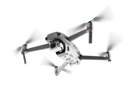 Drone with camera flying on white background. Modern gadget
