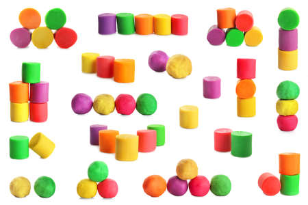 Set with bright play dough on white background Stock Photo