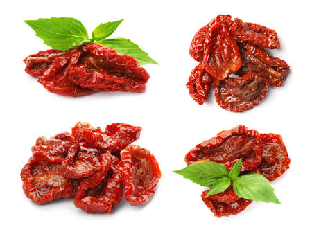 Set of tasty sun dried tomatoes on white background Banque d'images