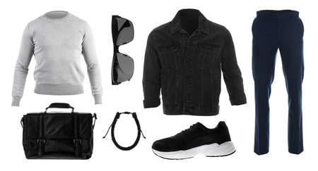 Set of stylish clothes on white background. Autumn look 版權商用圖片