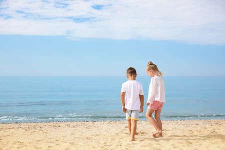 Cute little children on sea beach outside