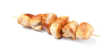 Delicious chicken shish kebab on white background Stock fotó