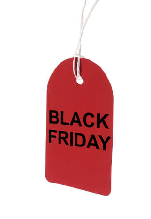 Blank red tag hanging on white background. Black Friday concept Stock Photo