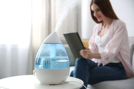 Modern air humidifier and blurred woman on background