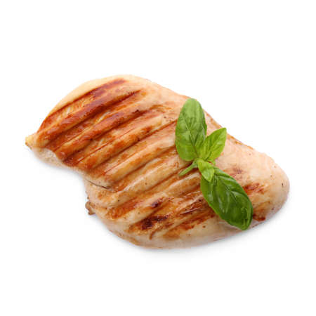 Tasty grilled chicken fillet and green basil isolated on white, top view Stock fotó - 155452111
