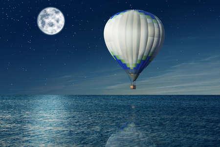 Dream world. Hot air balloon in night sky with full moon over sea Stockfoto