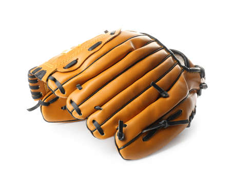 Leather baseball glove isolated on white. Sportive equipment Banque d'images