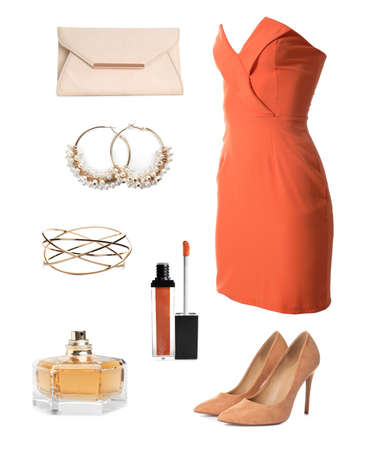Elegant outfit. Collage with dress, shoes, accessories and cosmetics for woman on white background Stock Photo