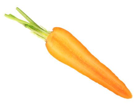 Half of fresh ripe carrot isolated on white