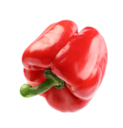 Ripe red bell pepper isolated on white