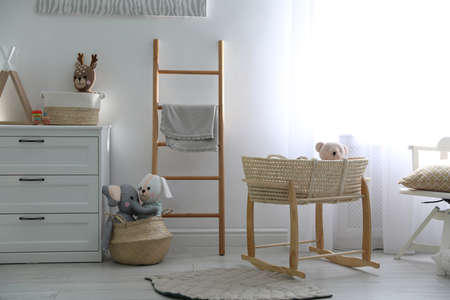 Cute children's room interior with wooden decorative ladder