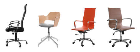 Set of different office chairs on white background. Banner design
