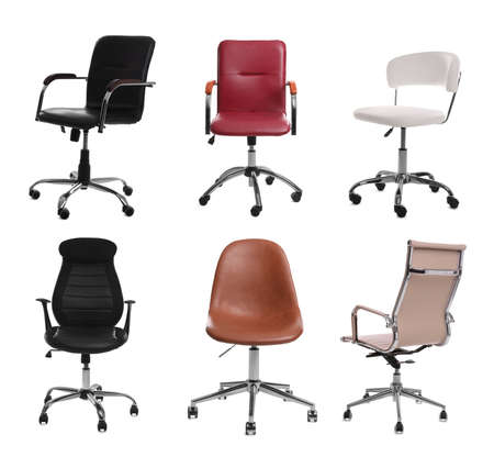 Set of different office chairs on white background Standard-Bild