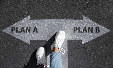 Choosing between Plan A and Plan B. Woman near pointers on road, above view