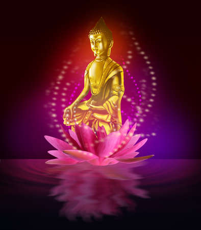 Buddha figure in lotus flower on water Stock Photo