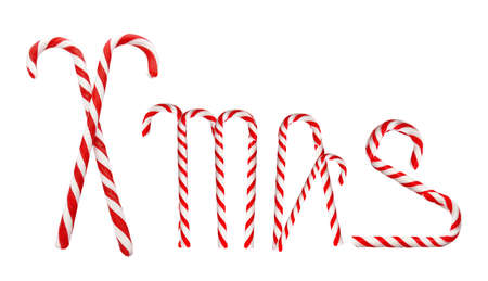Word Xmas of tasty candy canes on white background Stock Photo