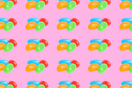 Collage with tasty jelly candies on pink background, pattern design