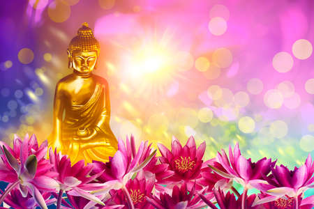 Buddha figure among lotus flowers on bright background, bokeh effect