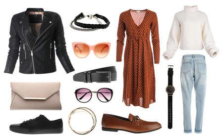 Set of stylish clothes on white background. Autumn look Stock fotó