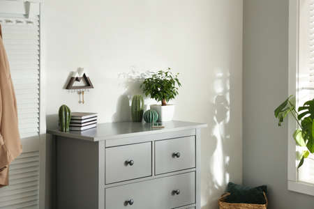 Gray chest of drawers in stylish room interior