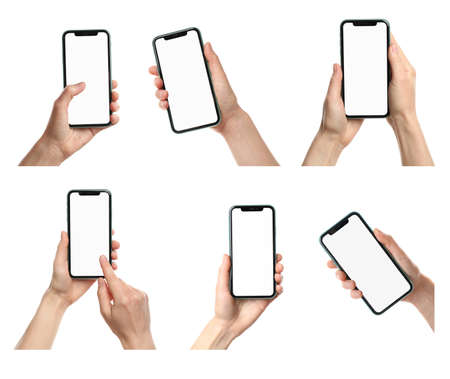Collage with photos of woman holding phone on white background, closeup