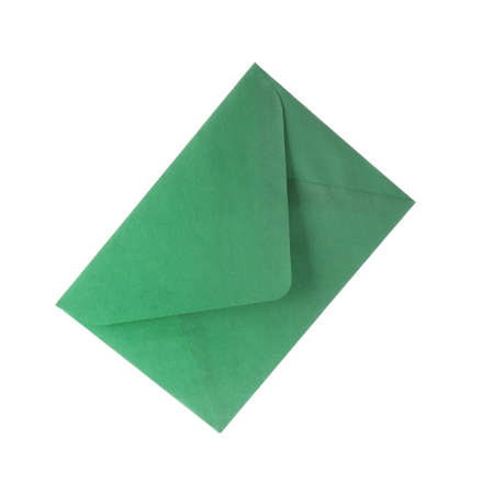 Green paper envelope isolated on white. Mail service