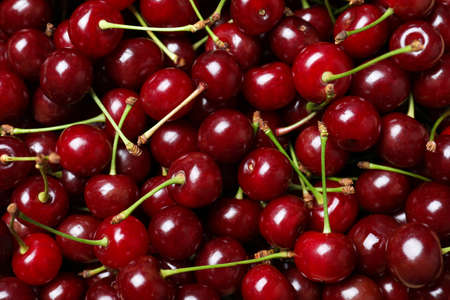 Ripe juicy cherries as background, closeup view Standard-Bild