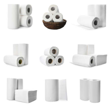 Set with rolls of paper tissues isolated on white