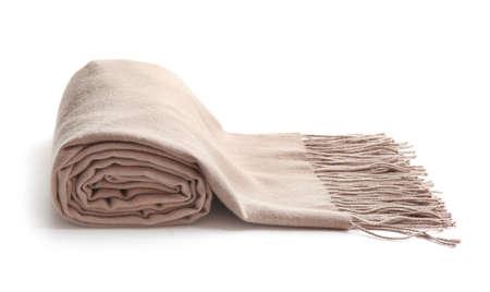 Stylish rolled scarf on white background. Winter clothing