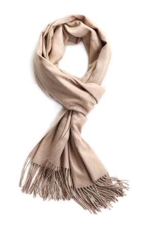 Stylish scarf on white background, top view