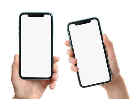 phone on white background, closeup